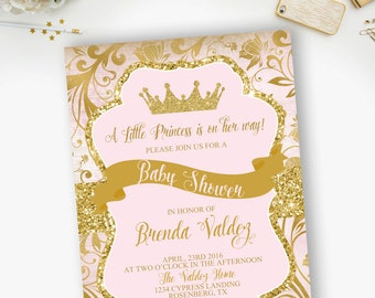Princess Pink and Gold Baby Shower Invitation, Pink and gold crown baby shower, Our little princess- YOU PRINT