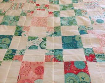 Reduced Coral Queen if the Sea Quilt Top 50x60