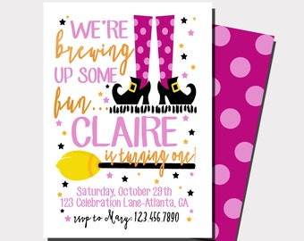 Witch Birthday Invitation | Halloween Birthday Invitation | Halloween Party | Brewing Up Some Fun | First Birthday