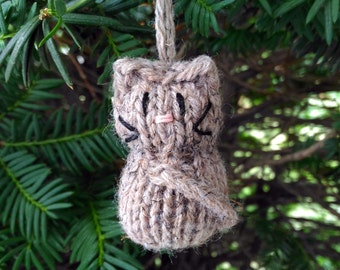 Small Stuffed Brown Calico Kitten Ornament, Handmade Knit, Hanging Decoration, Christmas Tree Trim, Rustic Decor, All Year Decoration
