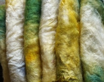 Handdyed Silk Hankies for Hand Spinning or wet felting in greens and yellows