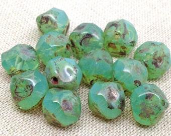 SALE! 15 Opalescent Green Picasso Czech Glass Beads 9mm Central Cut Irregular