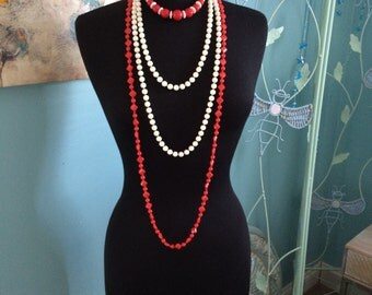 Vintage set of 3 red and white beaded necklaces