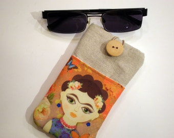 Sunglasses case, Frida Kahlo, Soft eyeglasses case, Case for sunglasses, Quilted eyeglass case