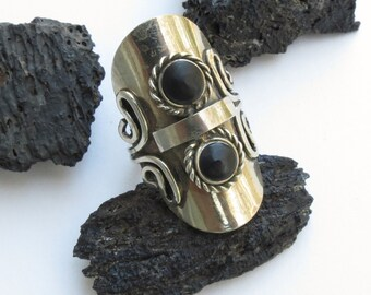 Tribal Goth Ring Silver black Adjustable Antiqued Silver