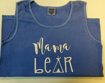 Personalized Mama Bear Comfort Color Tank
