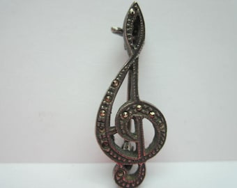 Vintage Sterling and Marcasites Music Note Brooch