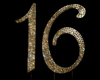 Gold Bling 16th Birthday Cake Toppers Cake Topper 16