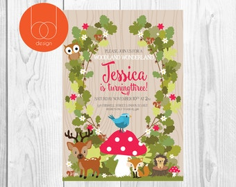 Woodland forest themed Birthday Invitation