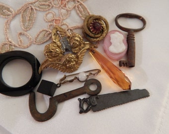 Findings - Key, Latch, Pink Glass Bead with Profle, Saw, Button,Amber Glass, Jewelry Frame,Angels 10 Pieces