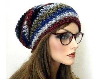 Slouchy Beanie, Boho Hat, Hippie Hat, Hip Hop, Women's Slouch Hat, Winter Hat, Wool Blend, Striped Hat, Soft, Wool Blend, Alpacha