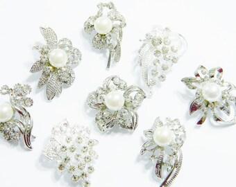 Sale DIY Mixed Brooches Silver Metal Crystal Clear Rhinestone Pinback Bridal Wedding Diy Metal Brooch Bouquet 8 Pieces B2vf