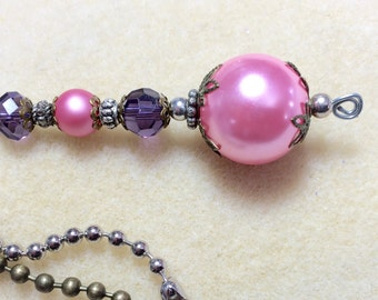 Ceiling fan pull, light pull, pink and purple ball chain pull, lighting decor, lamp pull, girls decor, decorative pull.