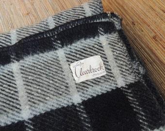 Vintage Wool Black And Grey Plaid Blanket Loomed In Clearbrook Virginia
