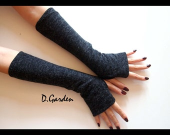 Dark Grey Cotton Strechy Knitted Cut & Sewn Soft Fingerless Arm Warmers Great For Party and Prom
