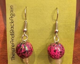 Pink Crackle&GlowInTheDark Bead Earrings