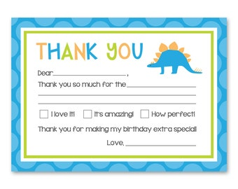 Dinosaur Thank You Cards - Dinosaur Fill in the Blank Cards - Dinosaur Birthday Party - Dinosaur Party Printables - INSTANT DOWNLOAD