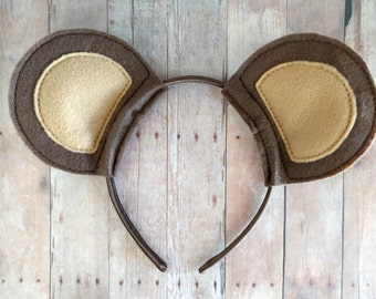 Bear Ears Headband, Brown or White and Pink Felt on Satin Covered Headband, Great for Halloween Costume or Cosplay, Made in USA, Animal Ears