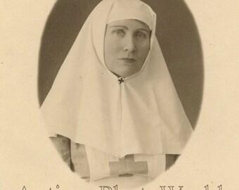 Pretty Red Cross nurse antique medical photo
