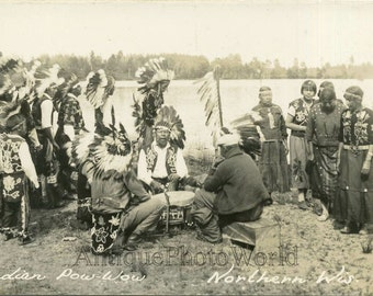 Indian Pow Wow ethnic dance Native American 1920s photo