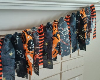 Halloween Fabric Banner - Halloween Party Decor - Halloween Garland - Halloween Mantle Decor - Halloween Mantle Banner- 6 ft long