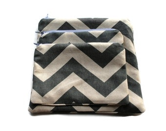 Reusable Zipper Snack Sandwich Bags set of 3 , 2 or 1 Gray Chevron Cotton Twill