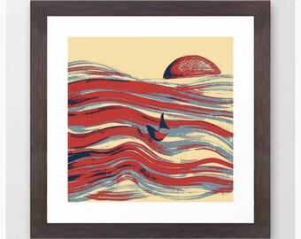 Afloat / Color Art Print / Digital Painting Fine Art Archival Print