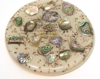 Vintage San Diego California Abalone trivet circle // barware gift cookware housewarming kitchenware serving