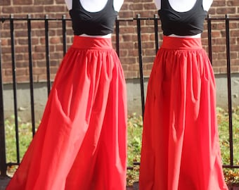The Lady In Red Long High Waist Maxi Skirt With Pockets