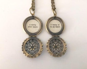 Mother Daughter Necklace Set, I carry your heart I carry it in my heart, quote locket, message locket, set of two , matching lockets,