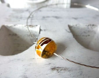 Modern Baltic Amber Necklace , Sterling Silver Necklace