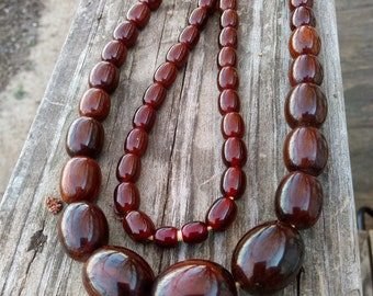 Brown Cream Swirl Bakelite Necklace