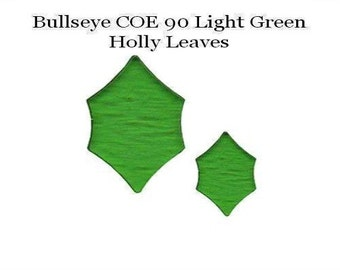 BULLSEYE COE 90 HOLLY Leaves St/2 Light Green Fusible Glass Fusing Supplies