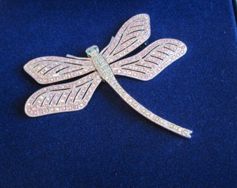 Jackie Kennedy PP Brooch - Dragonfly with Crystals, Box and Certificate