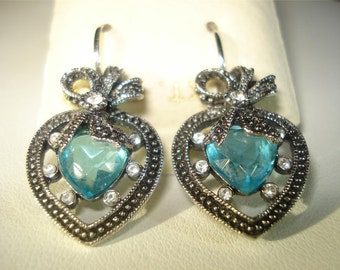 Joan Rivers Earrings - Aqua Heart Earrings in Silver Tone   - S1424