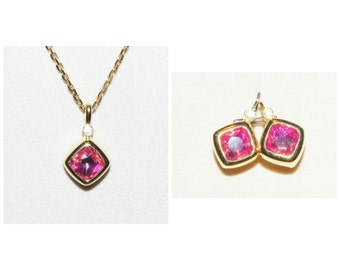Joan Rivers Pink Necklace and Earring Set in Gold Tone - S1351