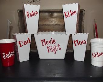 Personalized Family Movie Popcorn tub set