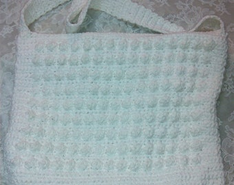 Crocheted White Cotton Purse