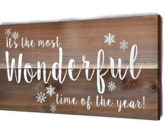 Christmas, Holiday Decor, Christmas Sign, Christmas Decoration,  Custom Wood Sign, Wonderful Time of The Year