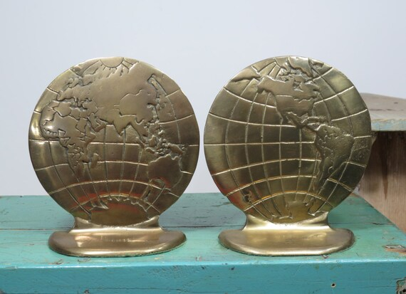 Brass World Globe Bookends Vintage Book Ends