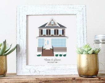 Custom Housewarming gift, First Home Portrait, First House Drawing, House Warming Art, New Home Gift