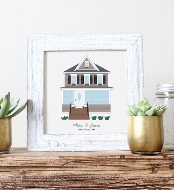 Custom Housewarming Gift First Home Portrait First House