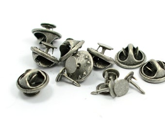 10 Pieces Antique Silver  6 mm Glue Pad Tie Tacks Findings