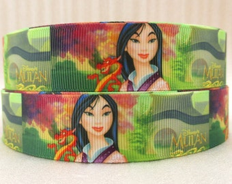 BTY Disney Movie Cartoon MULAN 1 Inch Grosgrain Ribbon Great for Hair Bows Crafts Sewing Scrapbooking Birthday Party Lisa