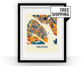 Halifax Map Print - Full Color Map Poster
