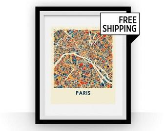 Paris Map Print - Full Color Map Poster