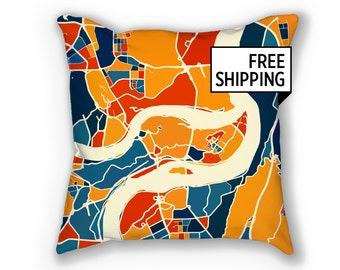 Chongqing Map Pillow - Chungking Map Pillow 18x18