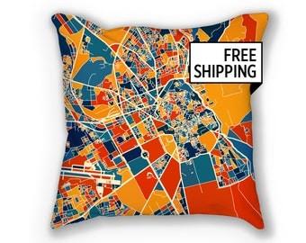 Marrakesh Map Pillow - Morocco Map Pillow 18x18