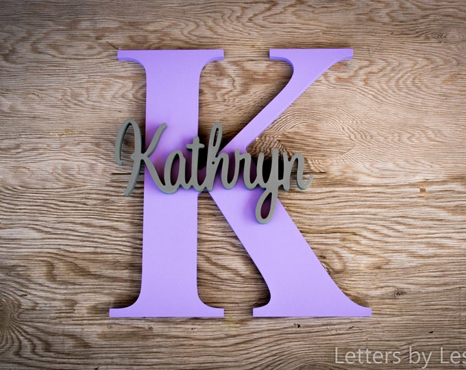 Capital Letter with Name - Custom Nursery Decor - Personalized name on Large Letter