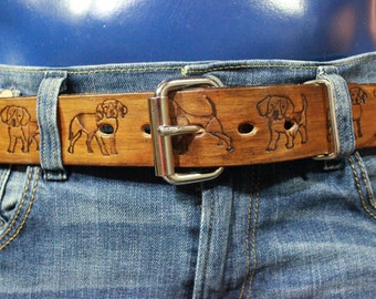 Brown Leather Pup Pattern Belt